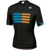 Sportful Wire Jersey - L - Black/Blue Atomic/Gold