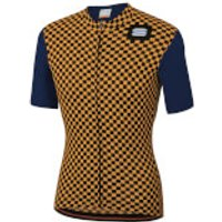 Sportful Checkmate Jersey - L - Blue Twilight/Gold