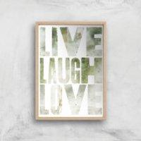 LIVE LAUGH LOVE Giclée Art Print - A4 - Wooden Frame - Laugh Gifts