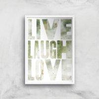 LIVE LAUGH LOVE Giclée Art Print - A4 - White Frame - Laugh Gifts