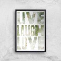 LIVE LAUGH LOVE Giclée Art Print - A4 - Black Frame - Laugh Gifts