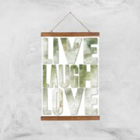 LIVE LAUGH LOVE Giclée Art Print - A3 - Wooden Hanger - Laugh Gifts