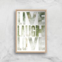 LIVE LAUGH LOVE Giclée Art Print - A3 - Wooden Frame - Laugh Gifts