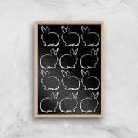 Multi Rabbits Giclée Art Print - A4 - Wooden Frame - Rabbits Gifts