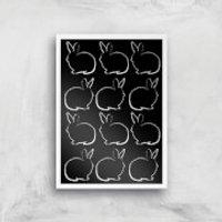 Multi Rabbits Giclée Art Print - A4 - White Frame - Rabbits Gifts