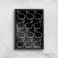 Multi Rabbits Giclée Art Print - A4 - Black Frame - Rabbits Gifts