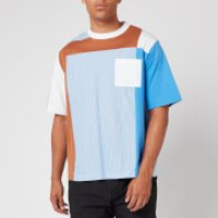 White Mountaineering Men's Stripe Contrasted T Shirt - Blue - L