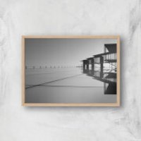 Roof Tops Giclee Art Print - A4 - Wooden Frame - Tops Gifts