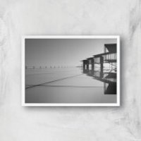 Roof Tops Giclee Art Print - A4 - White Frame - Tops Gifts