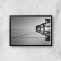Roof Tops Giclee Art Print - A4 - Black Frame - Tops Gifts