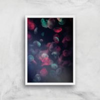 Jellyfish Lights Giclee Art Print - A4 - White Frame