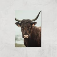 How Now Brown Cow Giclee Art Print - A4 - Print Only - Cow Gifts