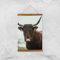 How Now Brown Cow Giclee Art Print - A3 - Wooden Hanger - Cow Gifts