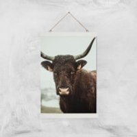 How Now Brown Cow Giclee Art Print - A3 - White Hanger - Cow Gifts