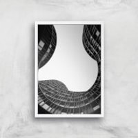 Wavey Architecture Giclee Art Print - A4 - White Frame - Architecture Gifts