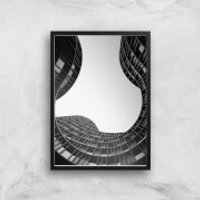 Wavey Architecture Giclee Art Print - A4 - Black Frame - Architecture Gifts