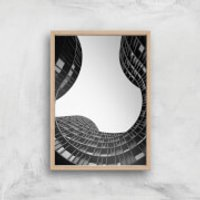 Wavey Architecture Giclee Art Print - A3 - Wooden Frame - Architecture Gifts
