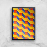 Stacked Colours Giclee Art Print - A4 - Black Frame - Colours Gifts