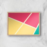 Coloured Tiles Giclee Art Print - A2 - Wooden Frame