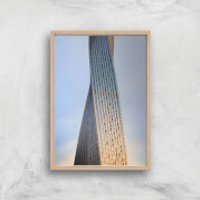 Twisted Building Giclee Art Print - A4 - Wooden Frame - Building Gifts
