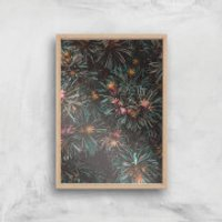 Flowers Like Fire Works Giclee Art Print - A4 - Wooden Frame - Flowers Gifts
