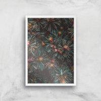 Flowers Like Fire Works Giclee Art Print - A4 - White Frame - Flowers Gifts