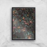 Flowers Like Fire Works Giclee Art Print - A4 - Black Frame - Flowers Gifts