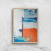 Beach Hut Views Giclee Art Print - A2 - Wooden Frame - Beach Gifts
