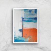 Beach Hut Views Giclee Art Print - A2 - White Frame - Beach Gifts