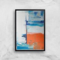 Beach Hut Views Giclee Art Print - A2 - Black Frame - Beach Gifts