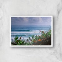 Watching The Waves Giclee Art Print - A2 - White Frame