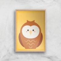 Barn Owl Giclee Art Print - A3 - Wooden Frame