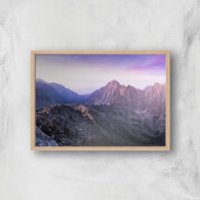 Lilac Mountains Giclee Art Print - A4 - Wooden Frame - Lilac Gifts