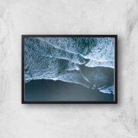 Waves At Night Giclee Art Print - A2 - Black Frame
