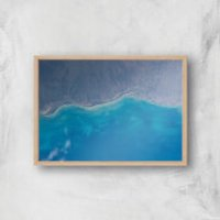Shoreline From Space Giclee Art Print - A4 - Wooden Frame