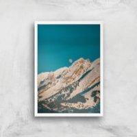 Moon Mountain Giclee Art Print - A3 - White Frame