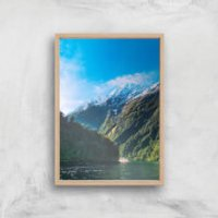 Mountain Boat Trip Giclee Art Print - A4 - Wooden Frame - Boat Gifts