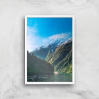 Mountain Boat Trip Giclee Art Print - A4 - White Frame - Boat Gifts