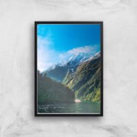 Mountain Boat Trip Giclee Art Print - A4 - Black Frame - Boat Gifts