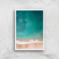 Beach Giclee Art Print - A4 - White Frame - Beach Gifts