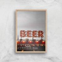 Beer Giclee Art Print - A2 - Wooden Frame