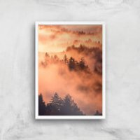 Sunset Forest Giclee Art Print - A3 - White Frame