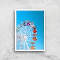 Summer Ferris Wheel Giclee Art Print - A4 - White Frame - Summer Gifts