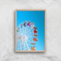 Summer Ferris Wheel Giclee Art Print - A3 - Wooden Frame - Summer Gifts