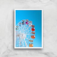 Summer Ferris Wheel Giclee Art Print - A2 - White Frame - Summer Gifts