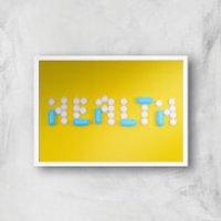 Health Pills Giclee Art Print - A4 - White Frame - Health Gifts