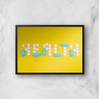 Health Pills Giclee Art Print - A4 - Black Frame - Health Gifts