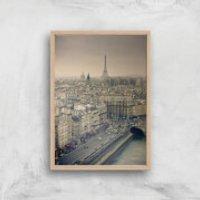 Streets Of Paris Giclee Art Print - A3 - Wooden Frame - Paris Gifts