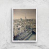 Streets Of Paris Giclee Art Print - A3 - White Frame - Paris Gifts