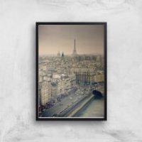 Streets Of Paris Giclee Art Print - A3 - Black Frame - Paris Gifts